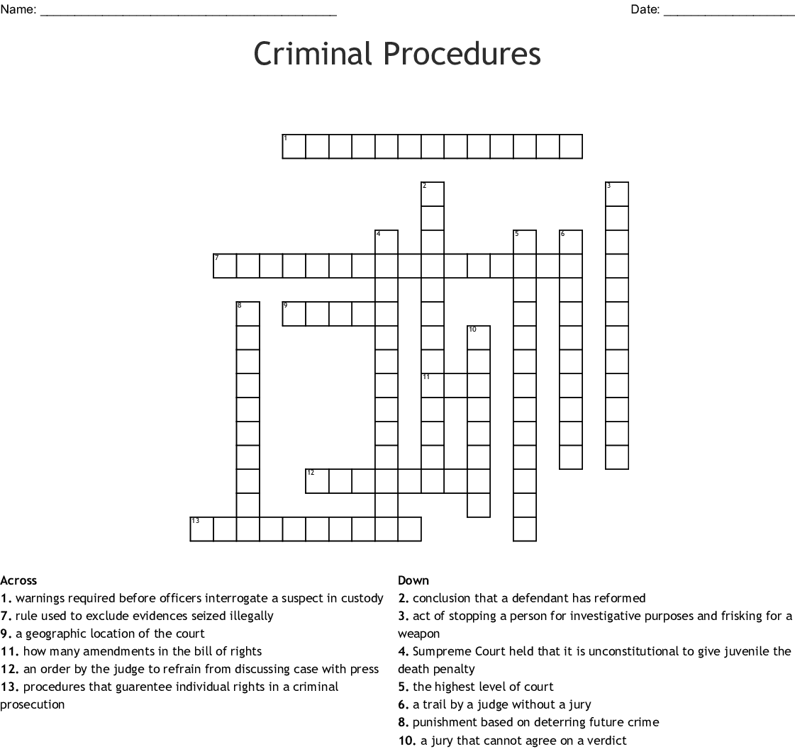 Criminal Justice Crossword