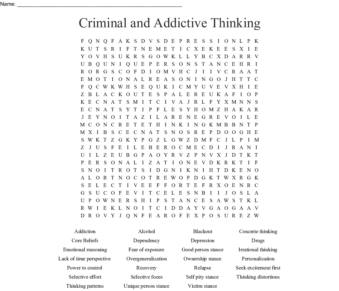 Addictive Thinking Worksheet