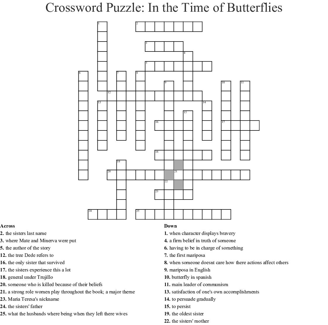 Butterfly Crossword Worksheet