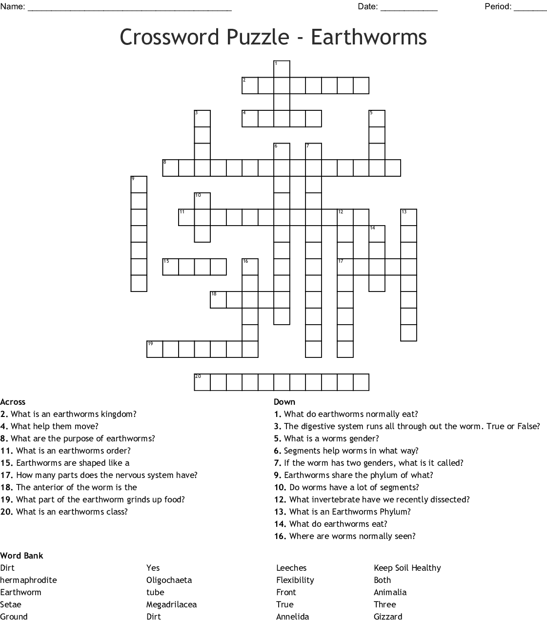 Mollusks And Annelids Crossword