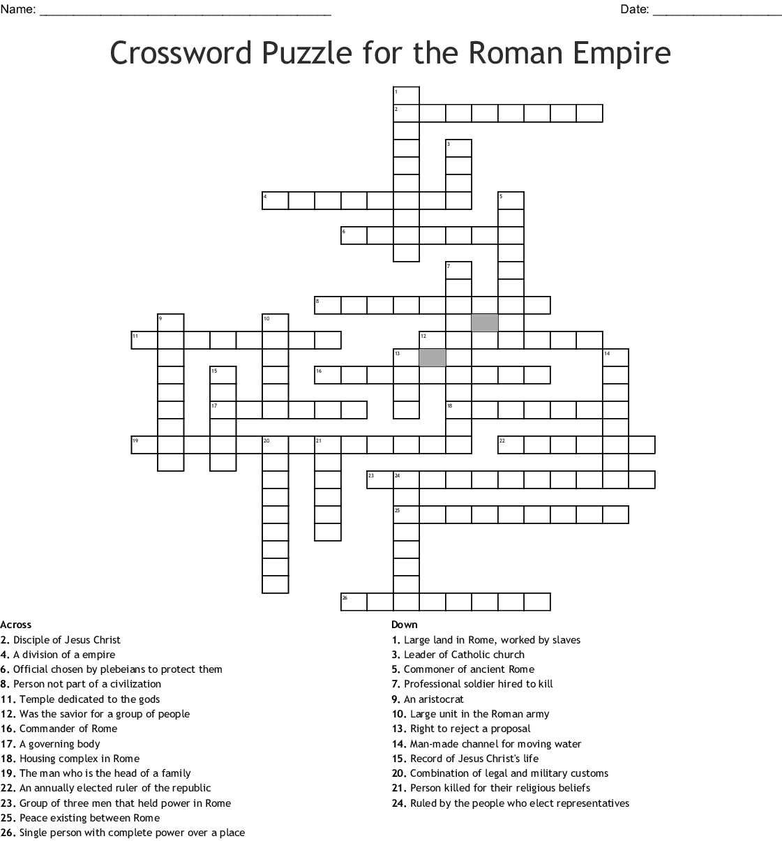 Crossword Puzzle For The Roman Empire