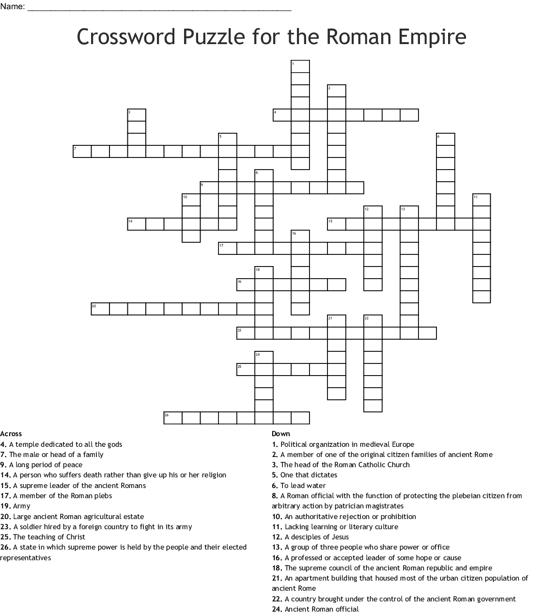 Crossword Puzzle For The Roman Empire