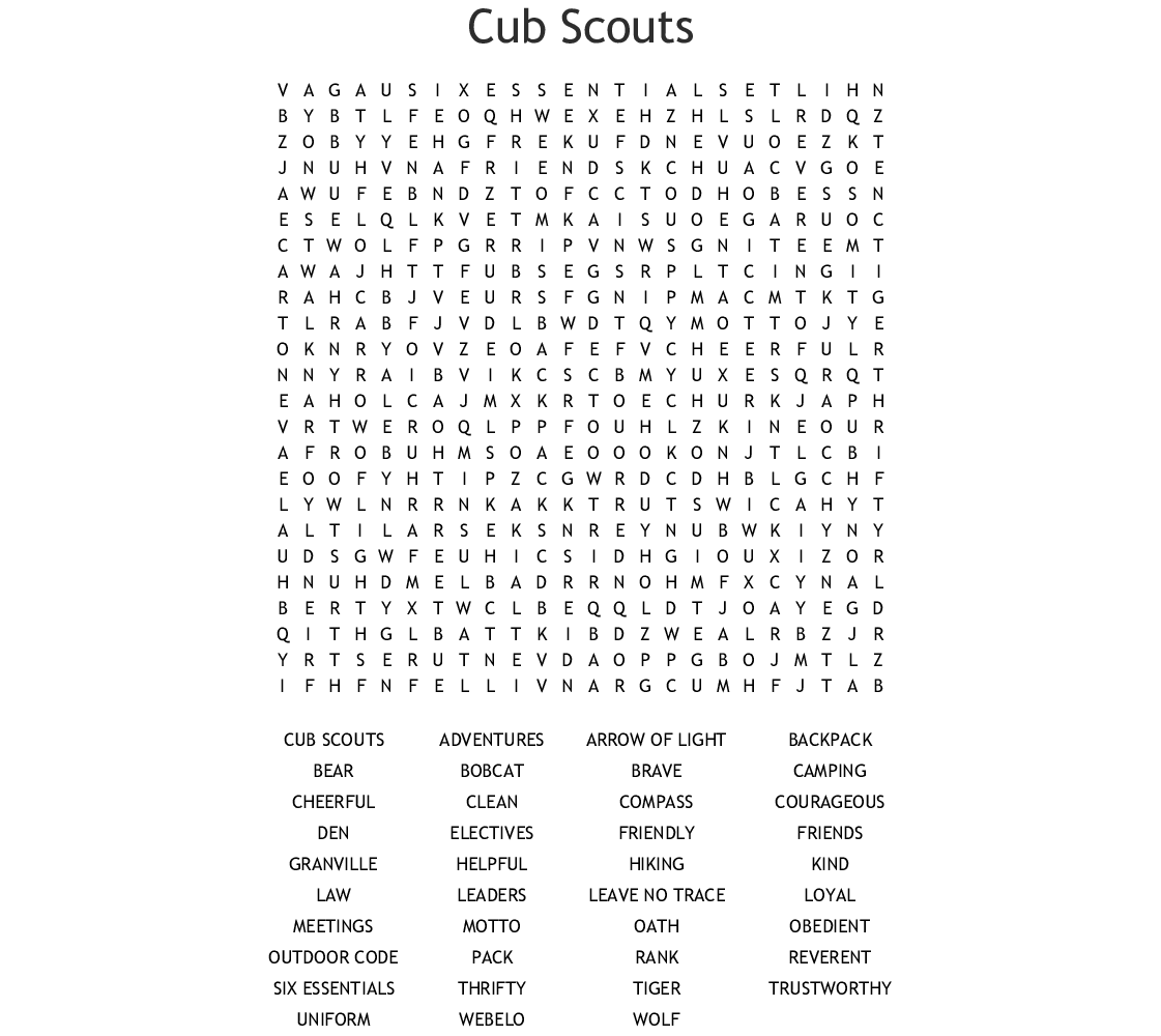 Cub Scouts Word Search