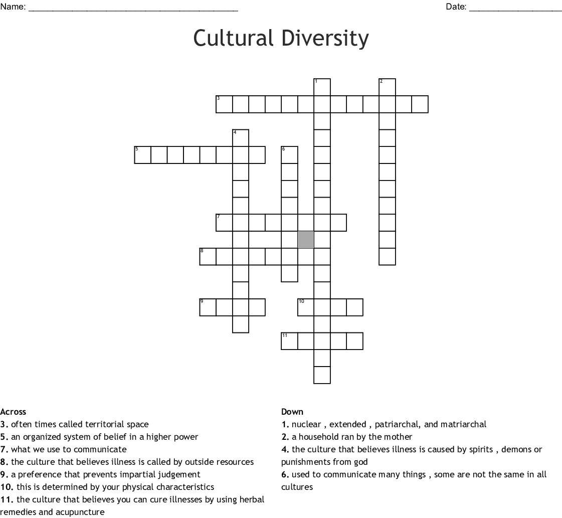 Cultural Diversity Crossword