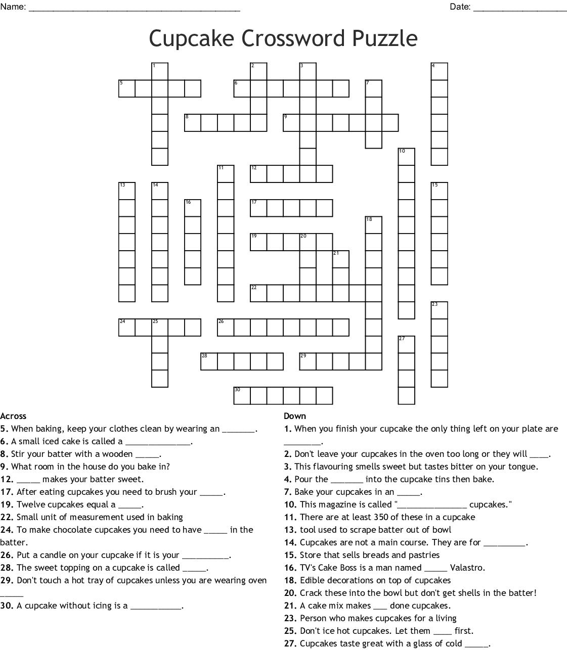 Cupcake Crossword Puzzle