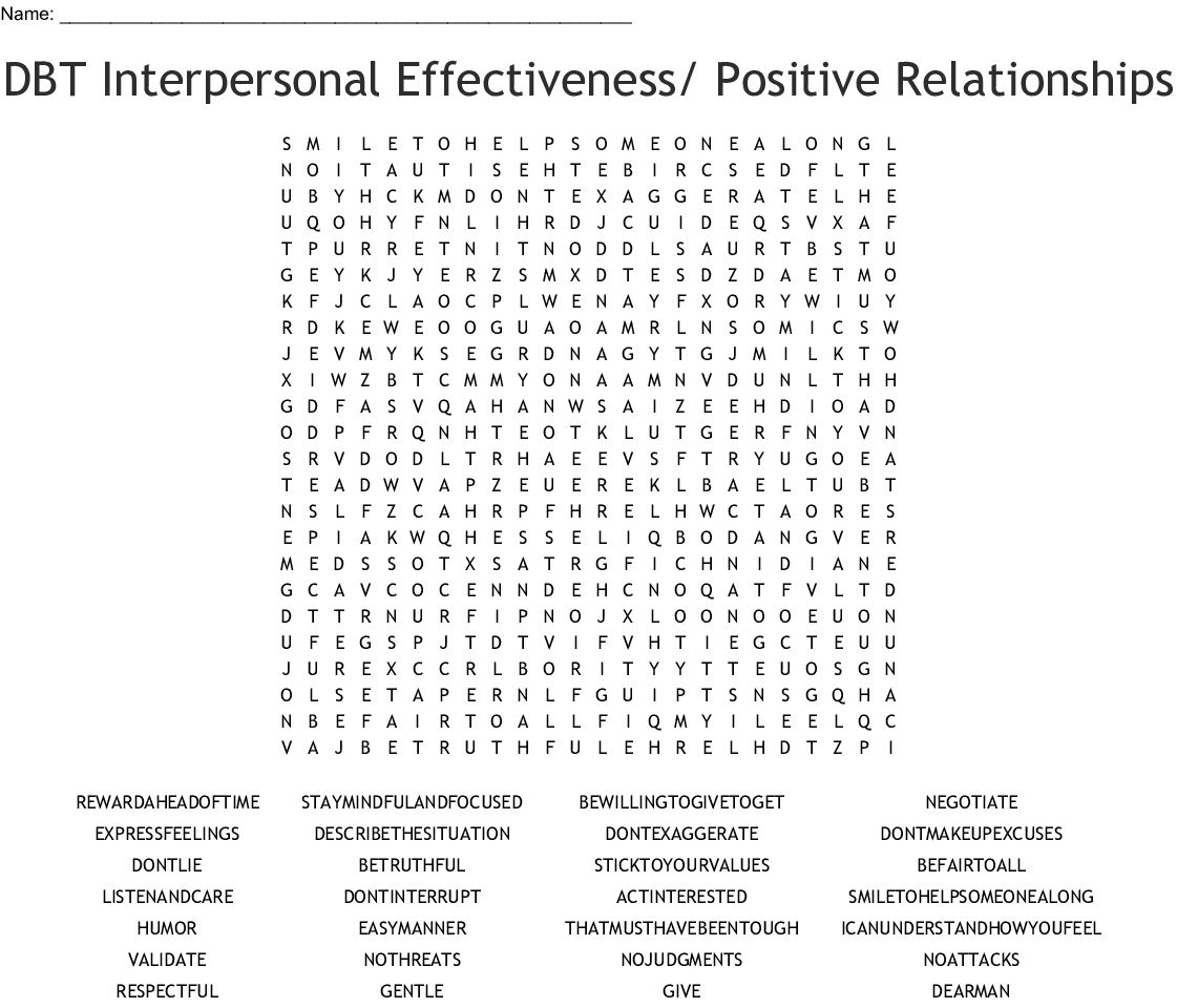 Dbt Interpersonal Effectiveness Positive Relationships