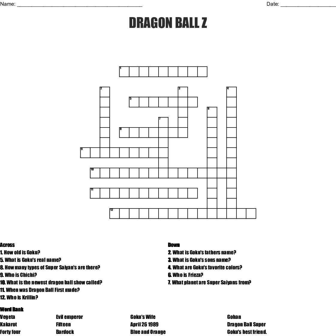 Dragon Ball Z Crossword