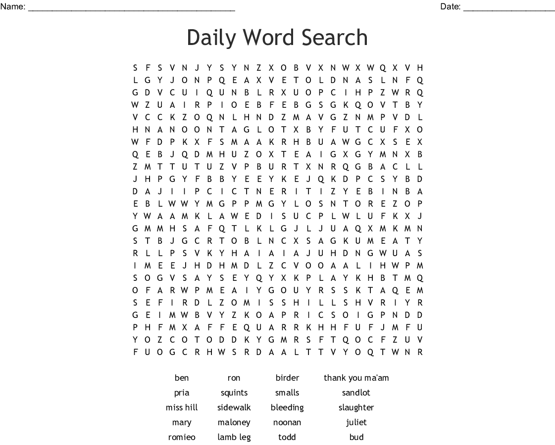 Lamb To The Slaughter Wordsearch