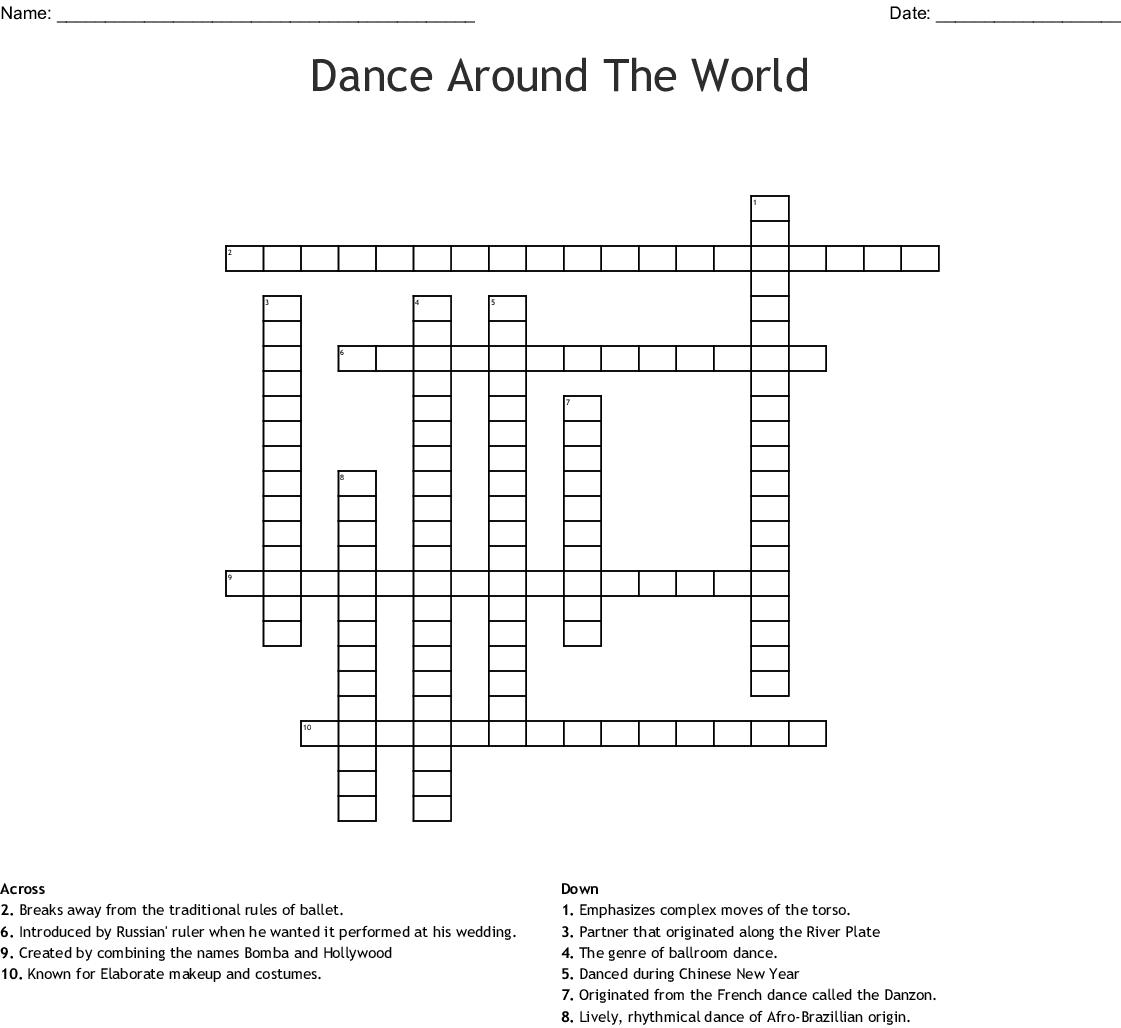Dance Crosswords Word Searches Bingo Cards