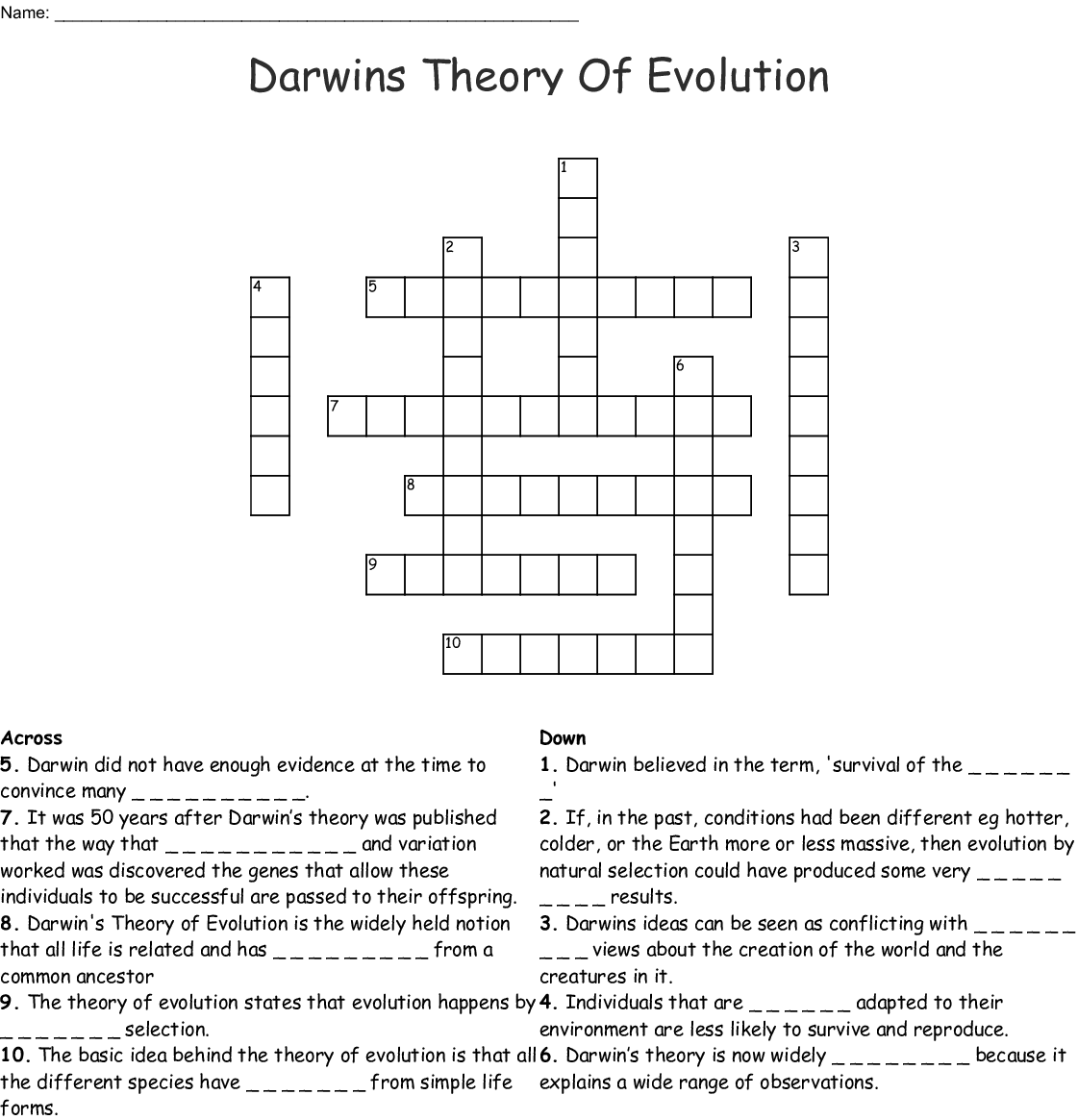 Darwins Theory Of Evolution Worksheet Answers