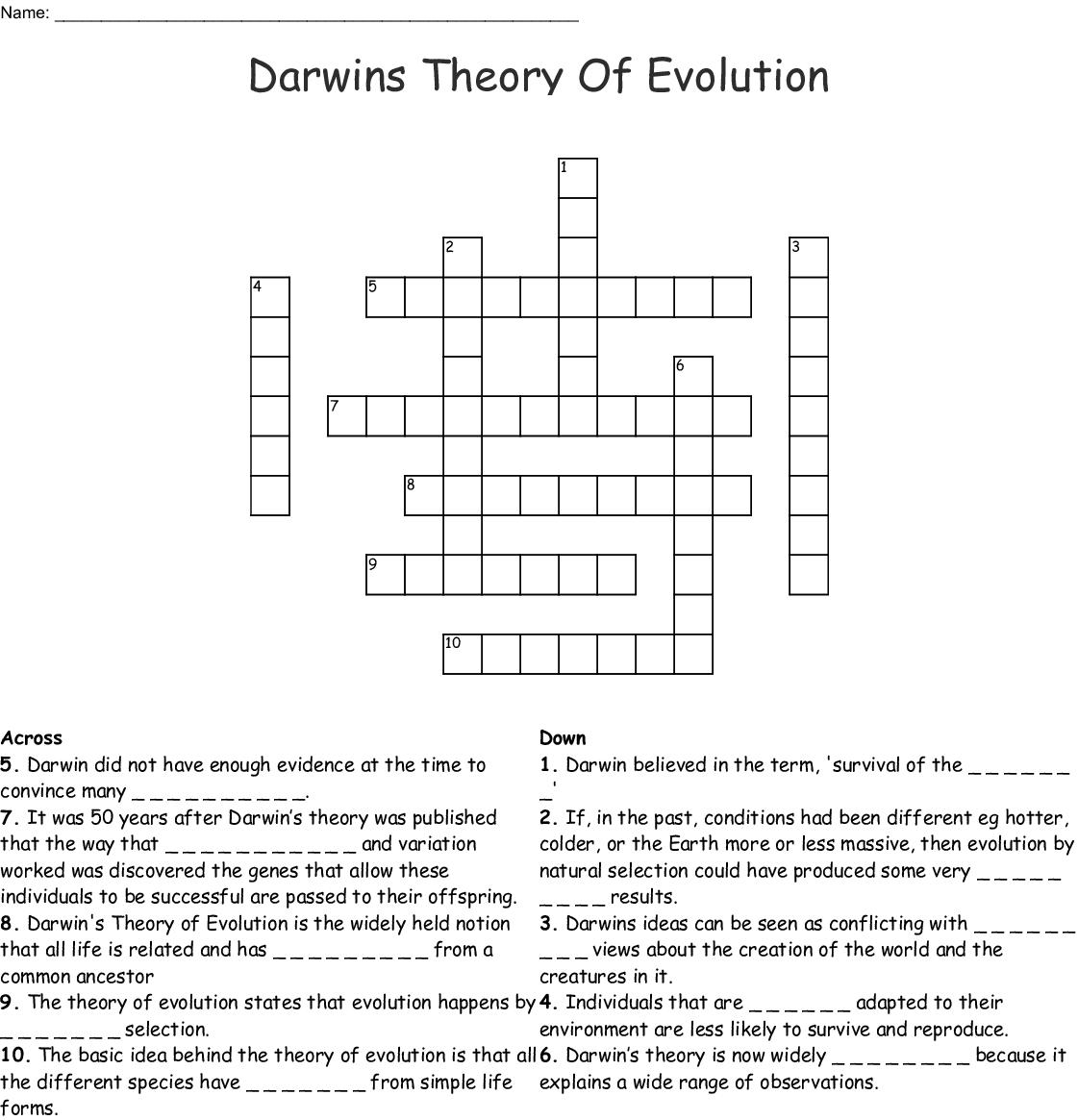 Darwins Theory Of Evolution Crossword