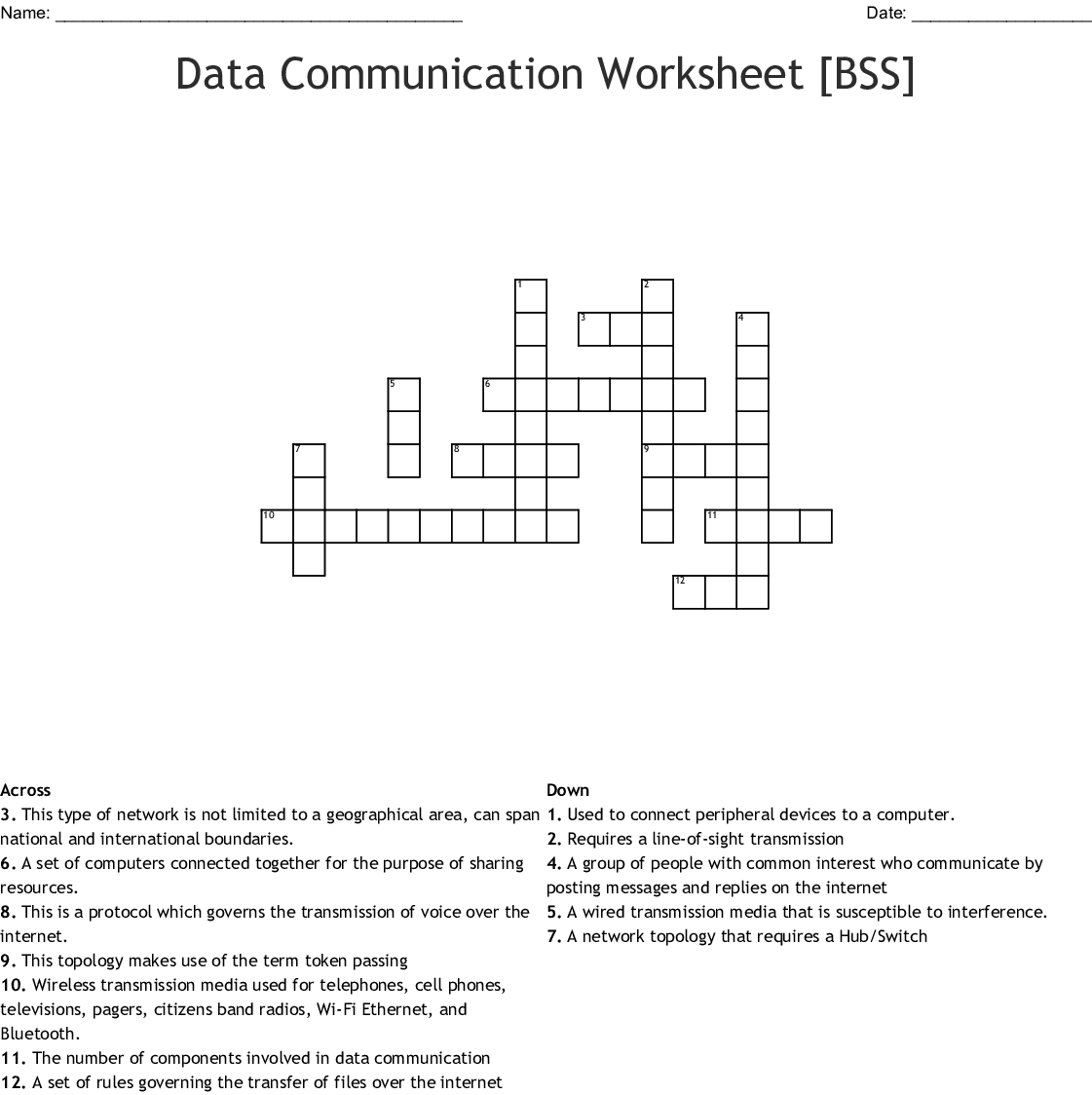 Telecommunications Crossword