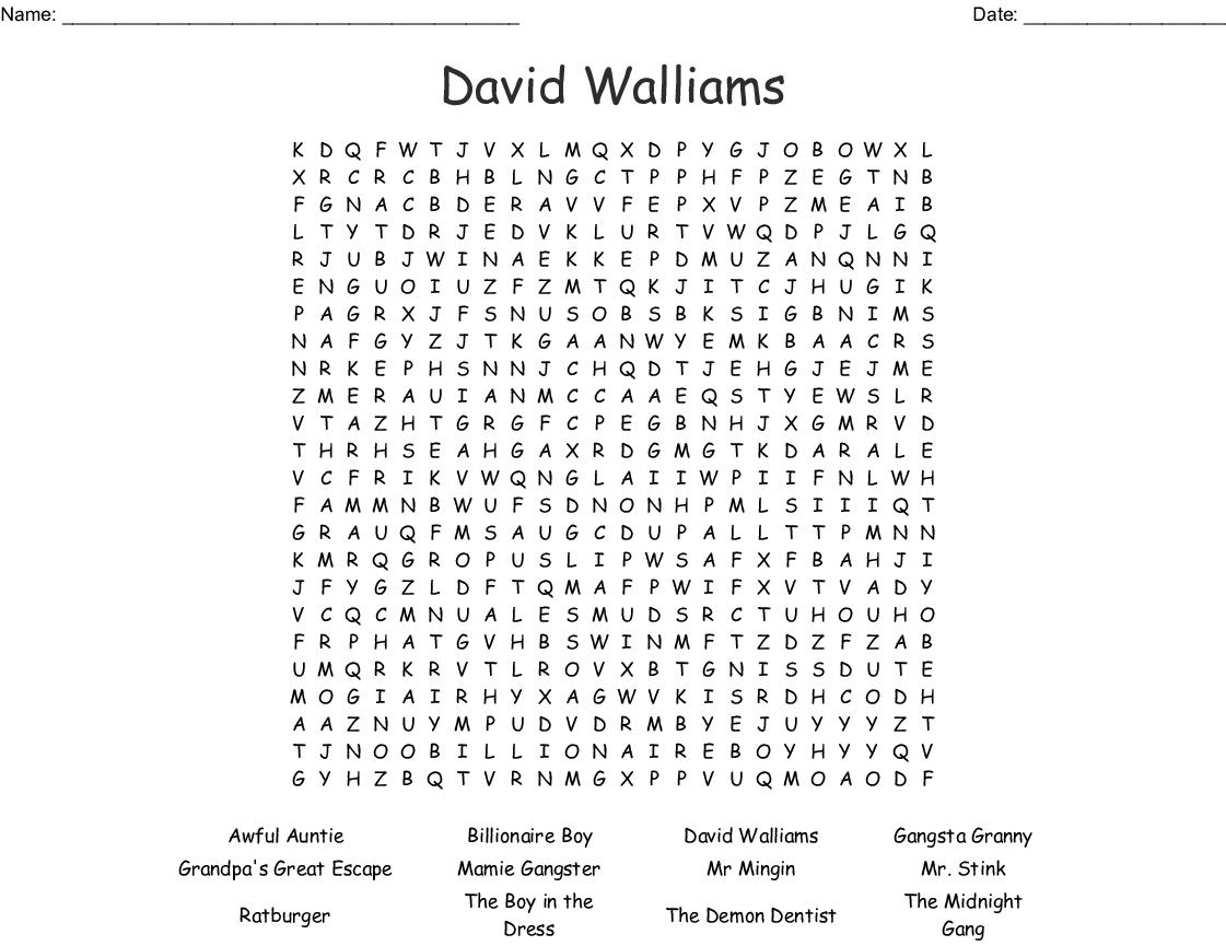 David Walliams Word Search