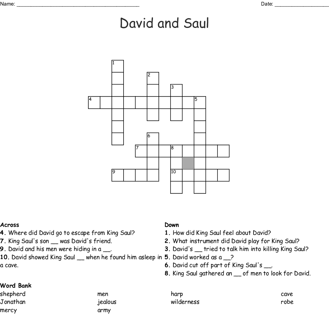 David And Saul Word Search