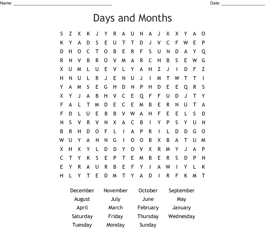 Days Of The Week And Months Of The Year Word Search