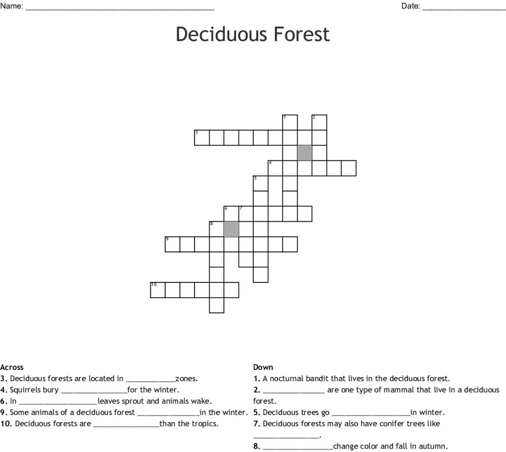 medium resolution of deciduous forest crossword