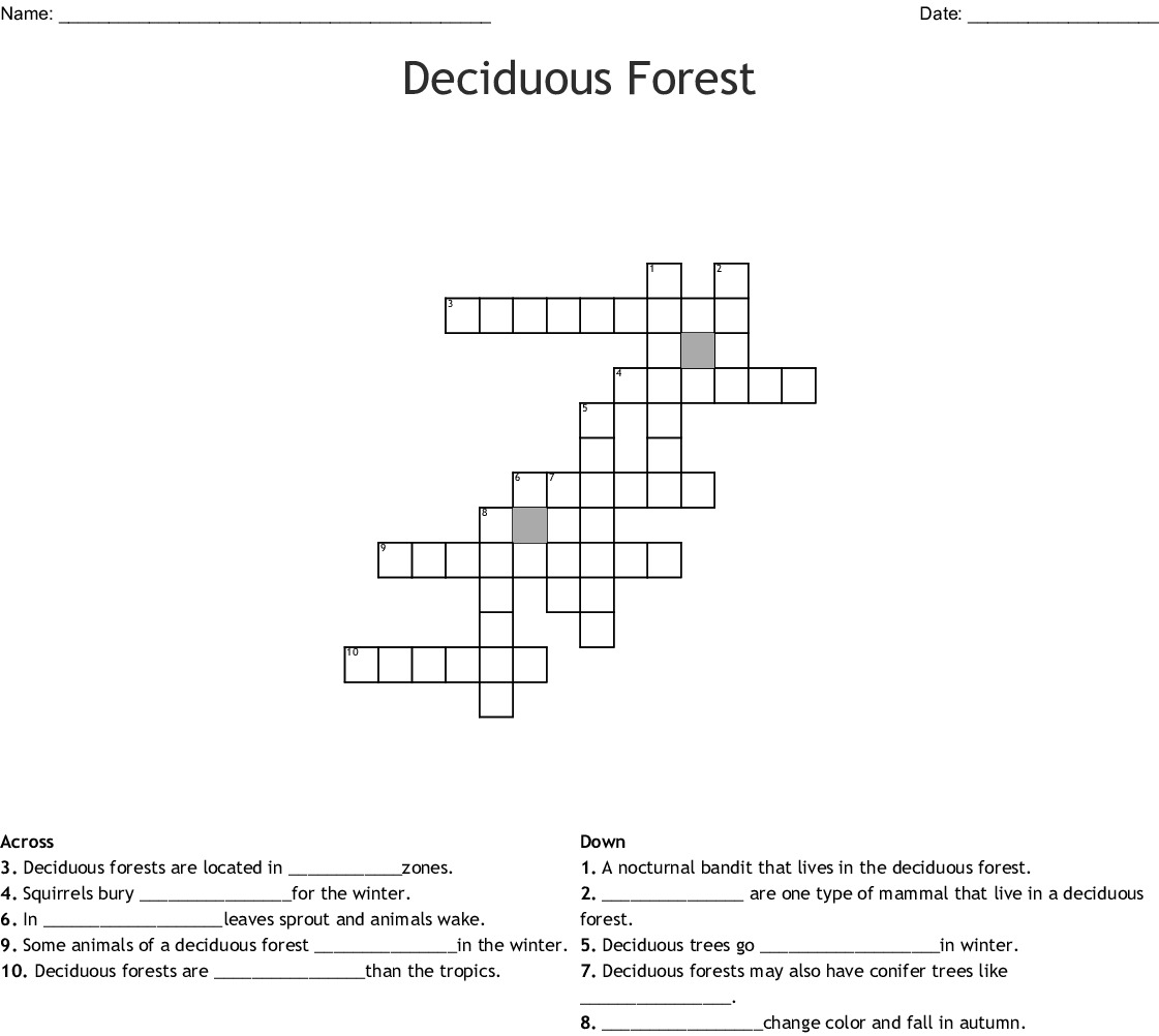 hight resolution of deciduous forest crossword