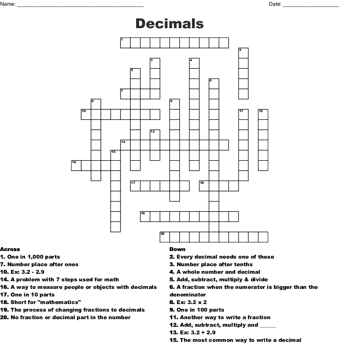 Decimals And Fractions Word Puzzle Word Search