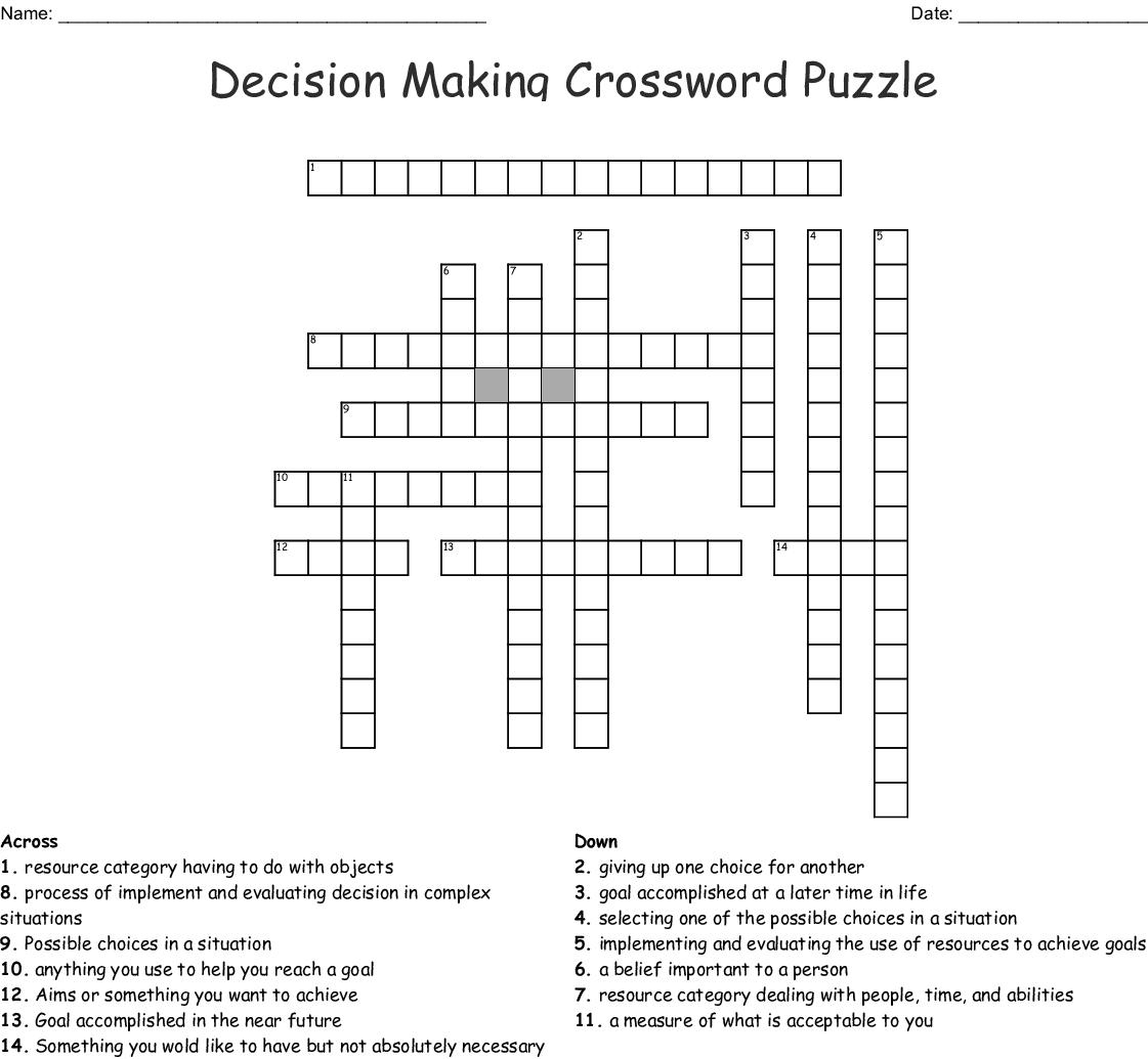 Decision Making Crossword Puzzle