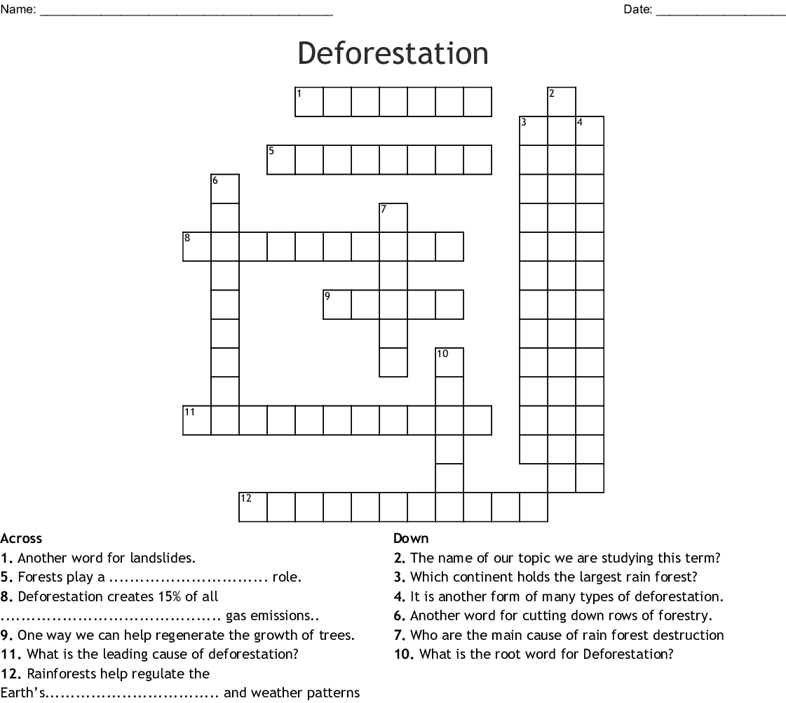 Deforestation Crossword