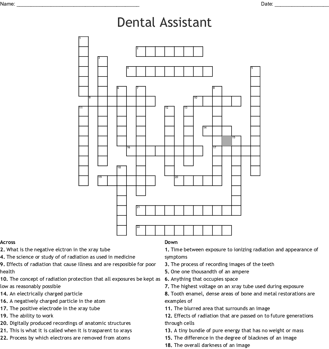 Dental Assistant Crossword