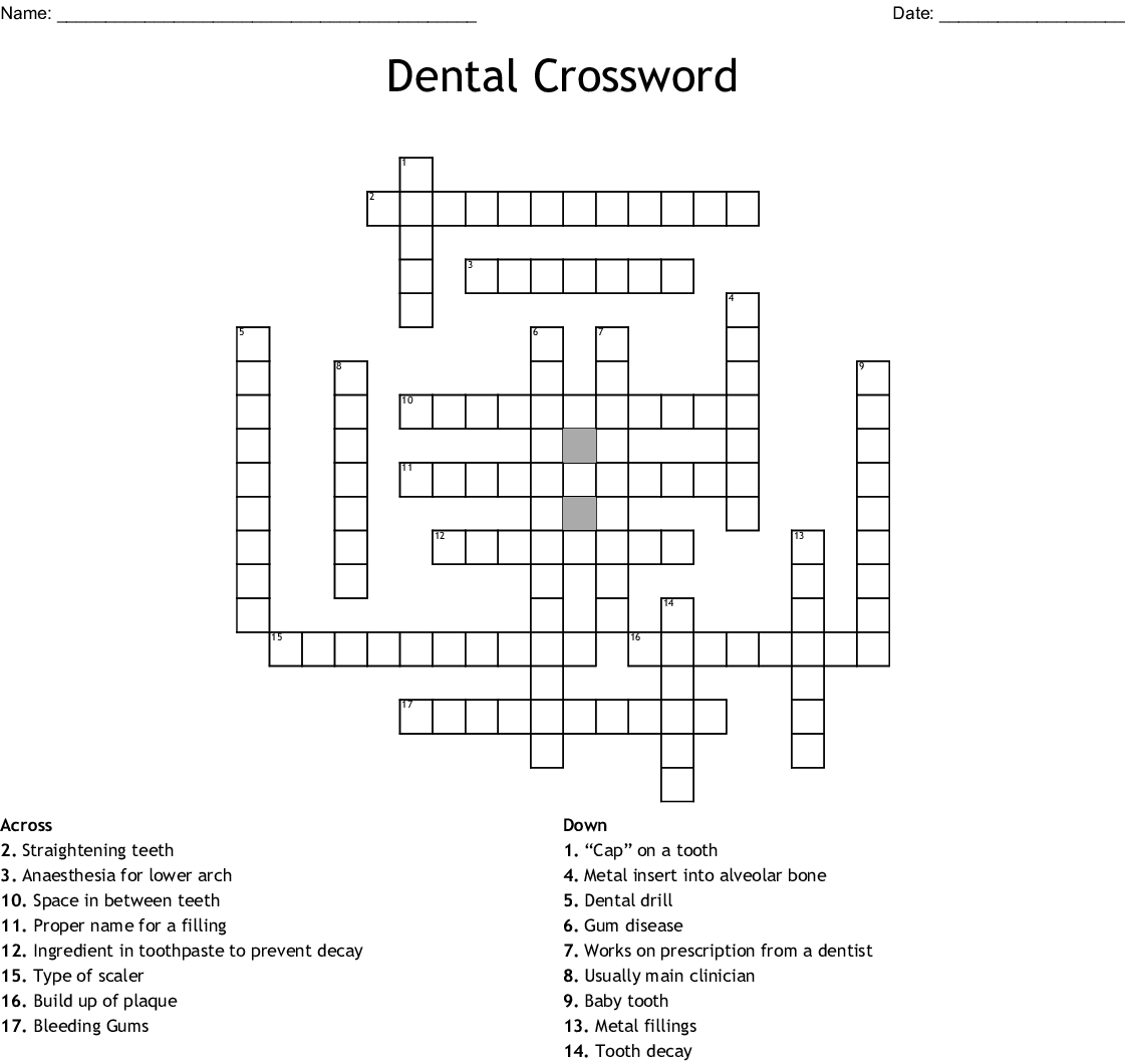 Oral Amp Dental Care Crosswords Word Searches Bingo Cards