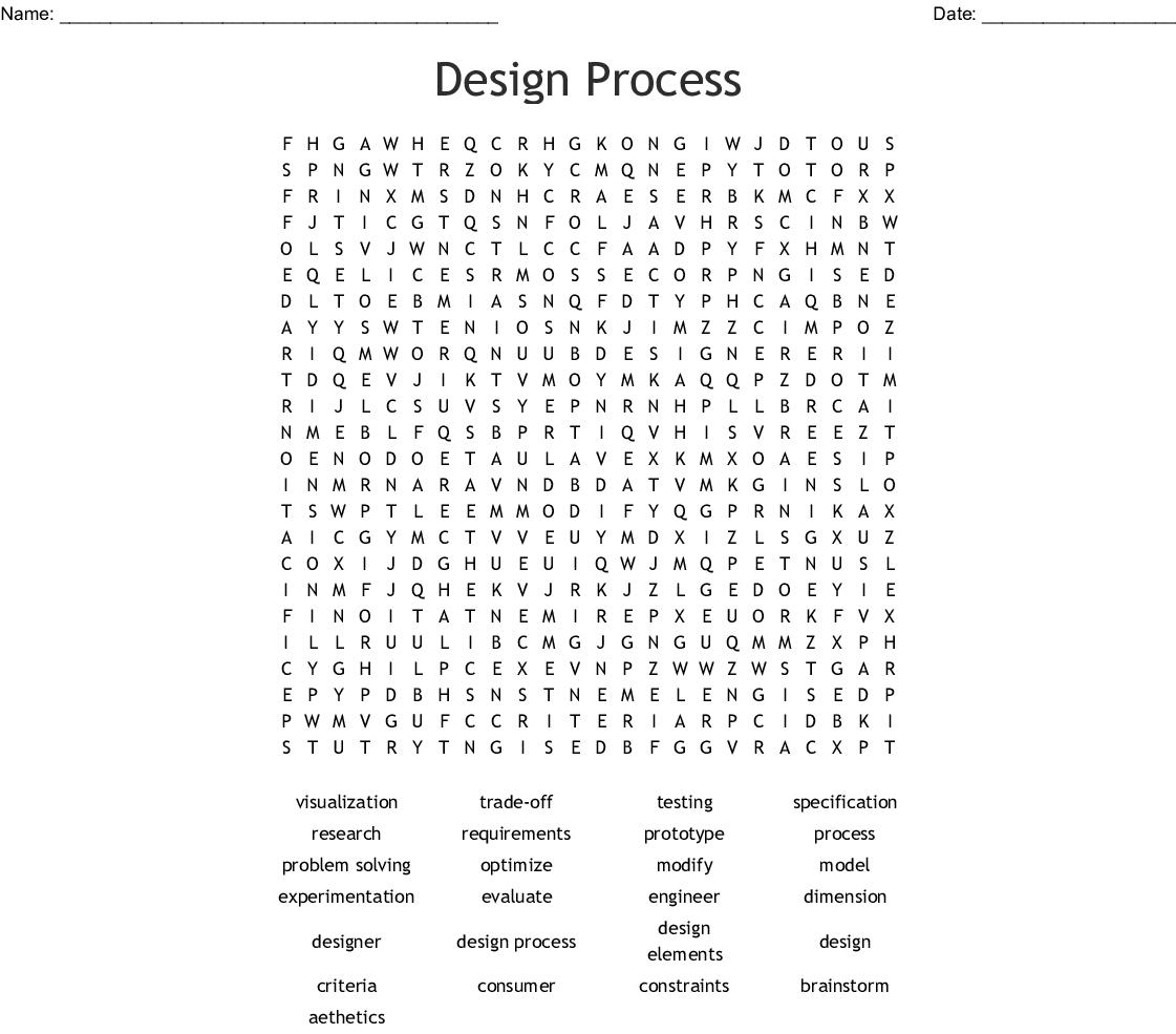 Design Process Word Search