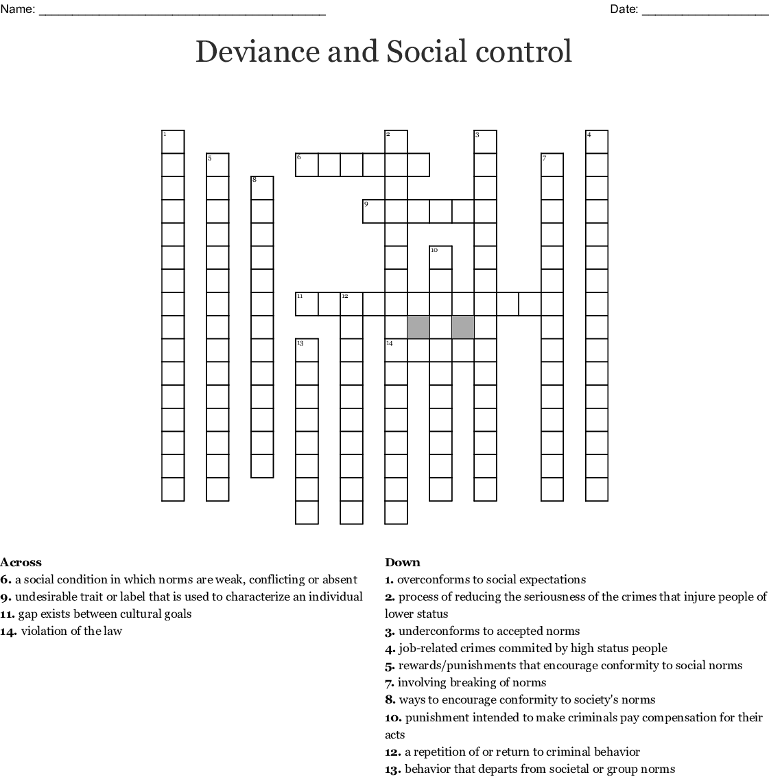 Deviance Crossword