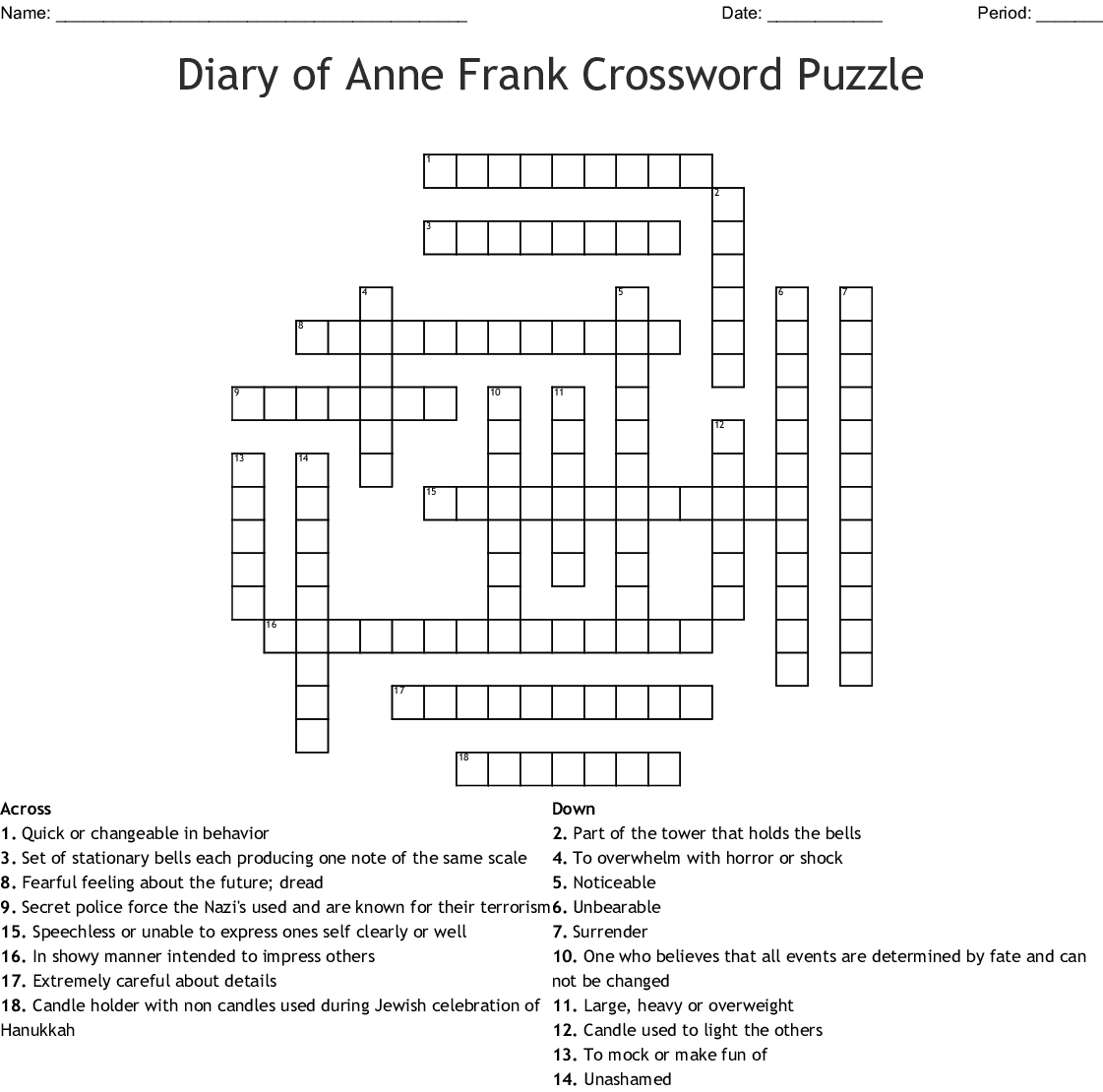 The Diary Of Anne Frank Vocabulary 1 Crossword