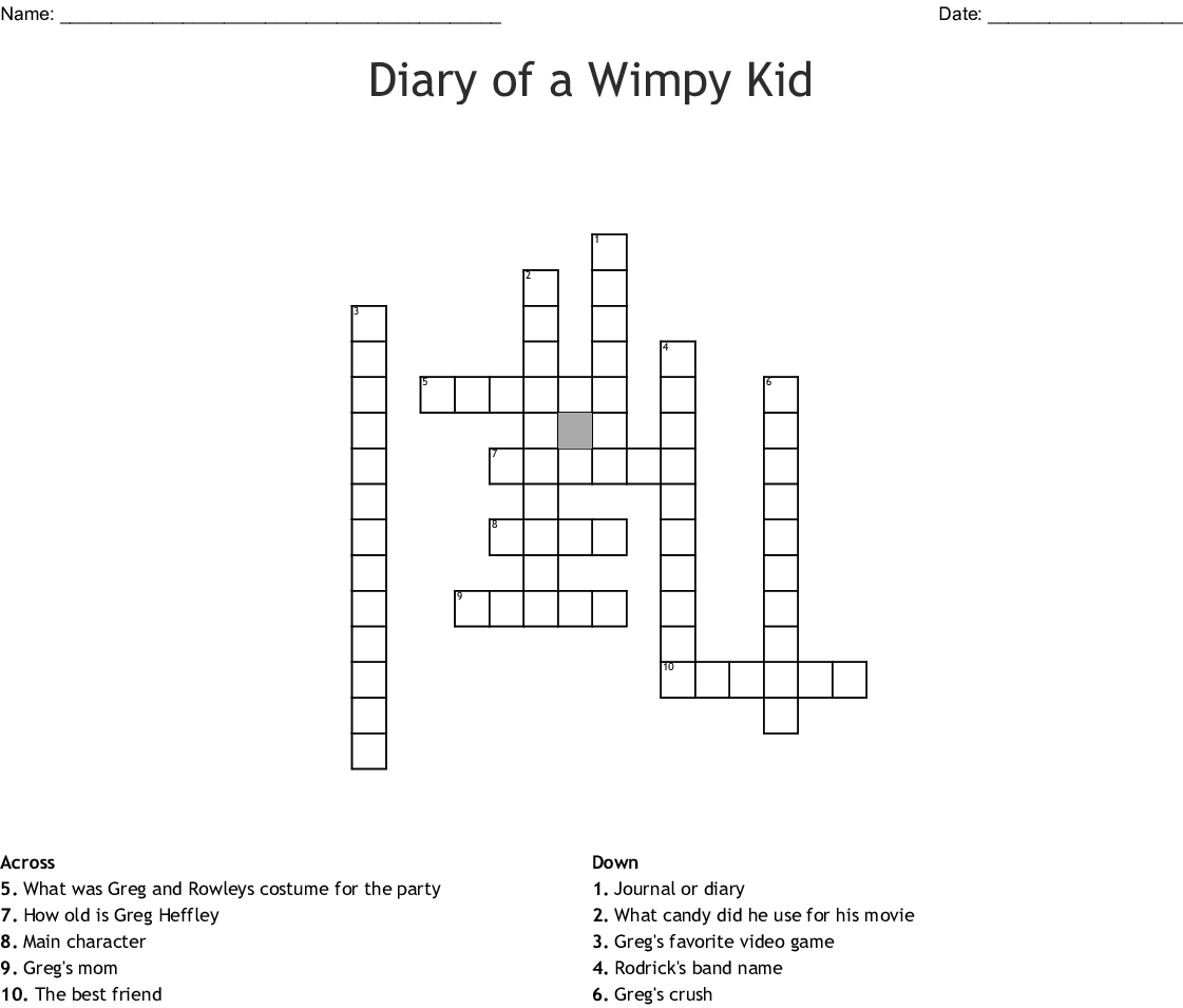 Diary Of A Wimpy Kid Hard Luck Word Search