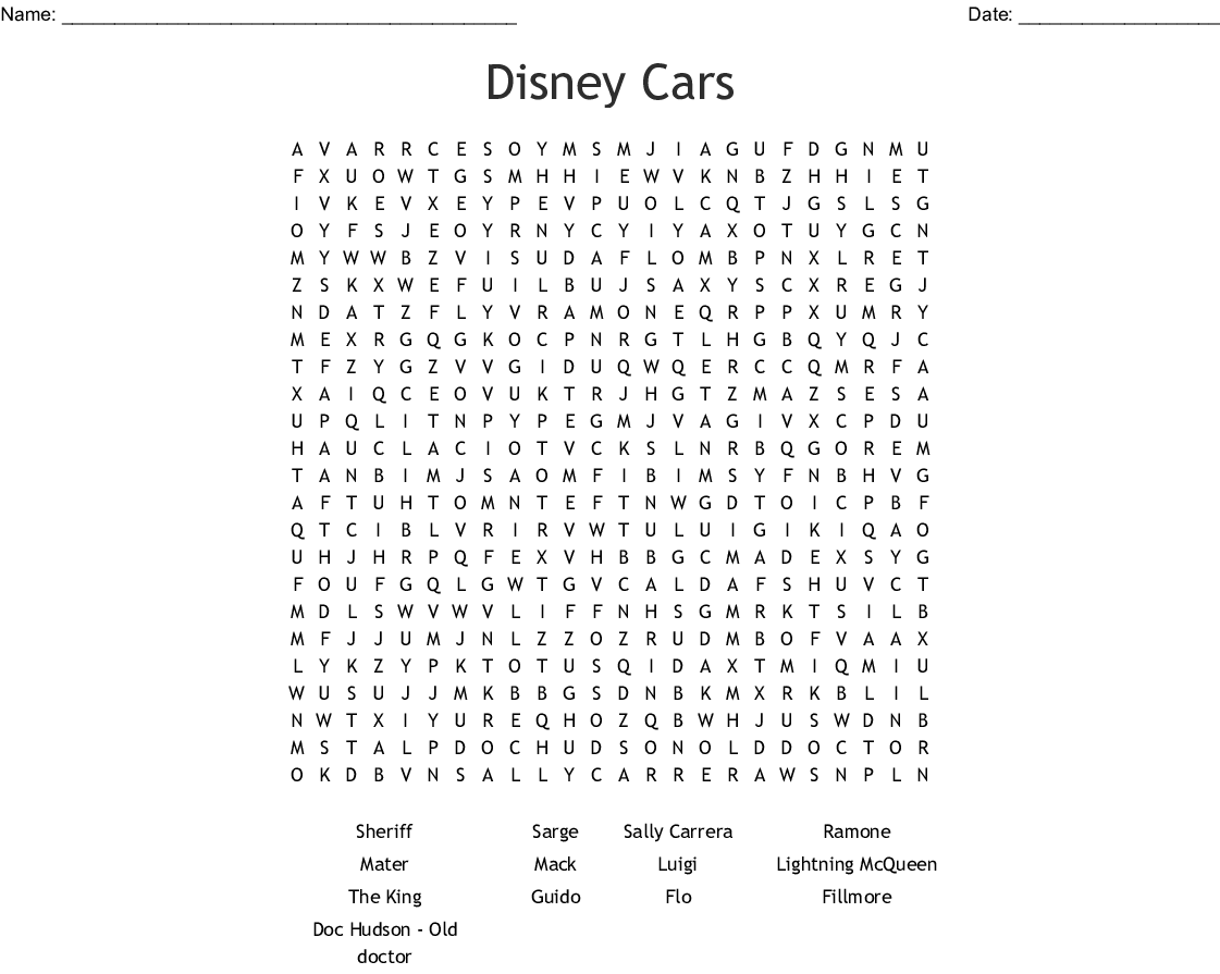 Pixar Word Search