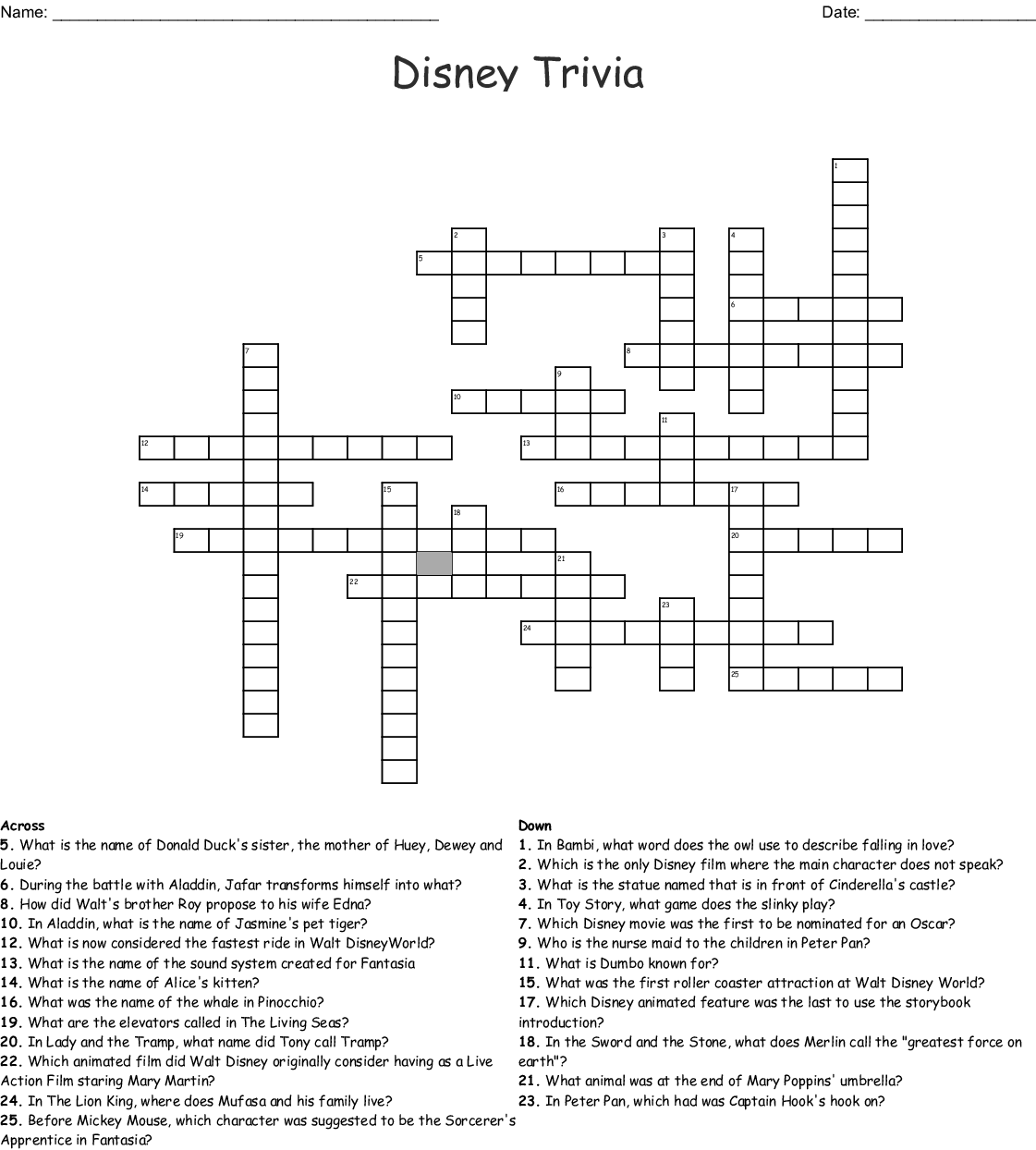 It S All Disney Crossword