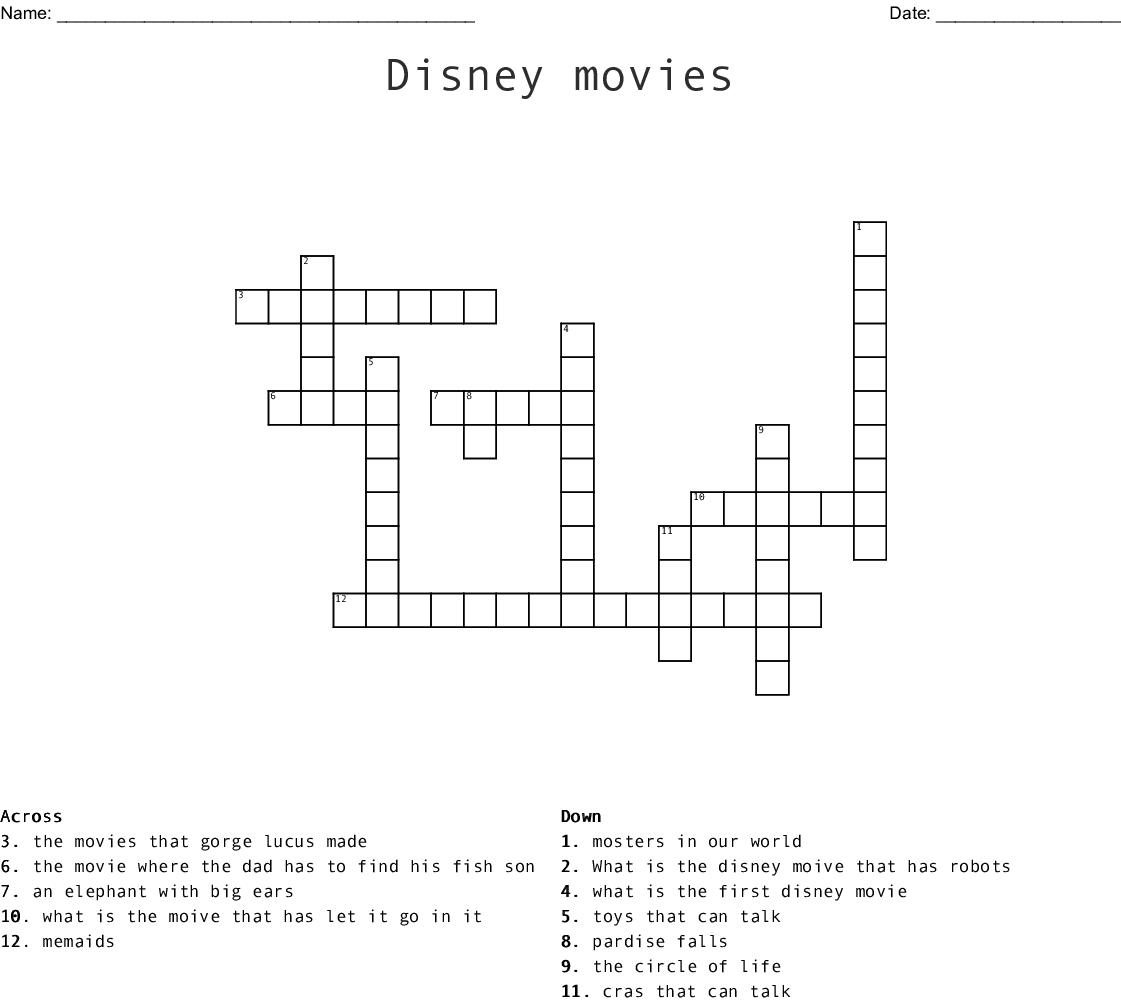 Disney Movies Crossword