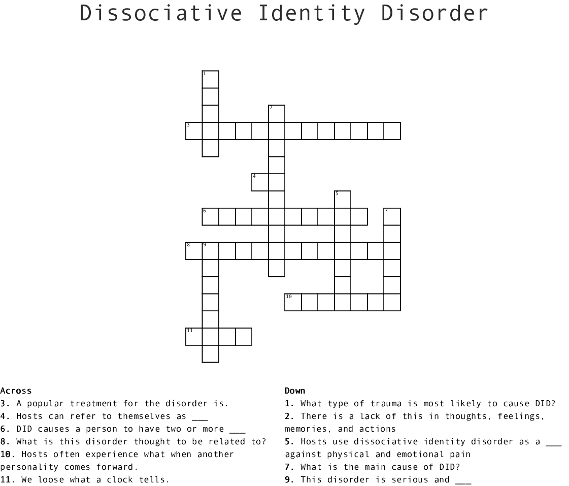 Abnormal Psychology 2 Crossword