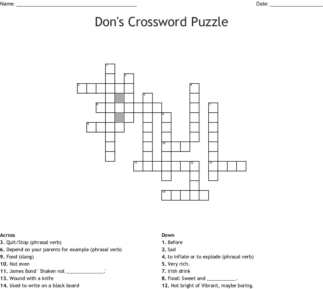 Don S Crossword Puzzle Crossword