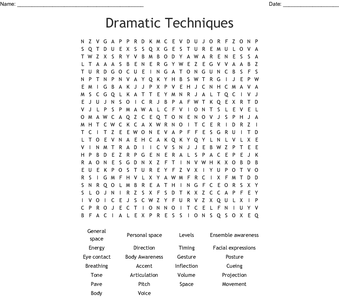 Dramatic Techniques Word Search