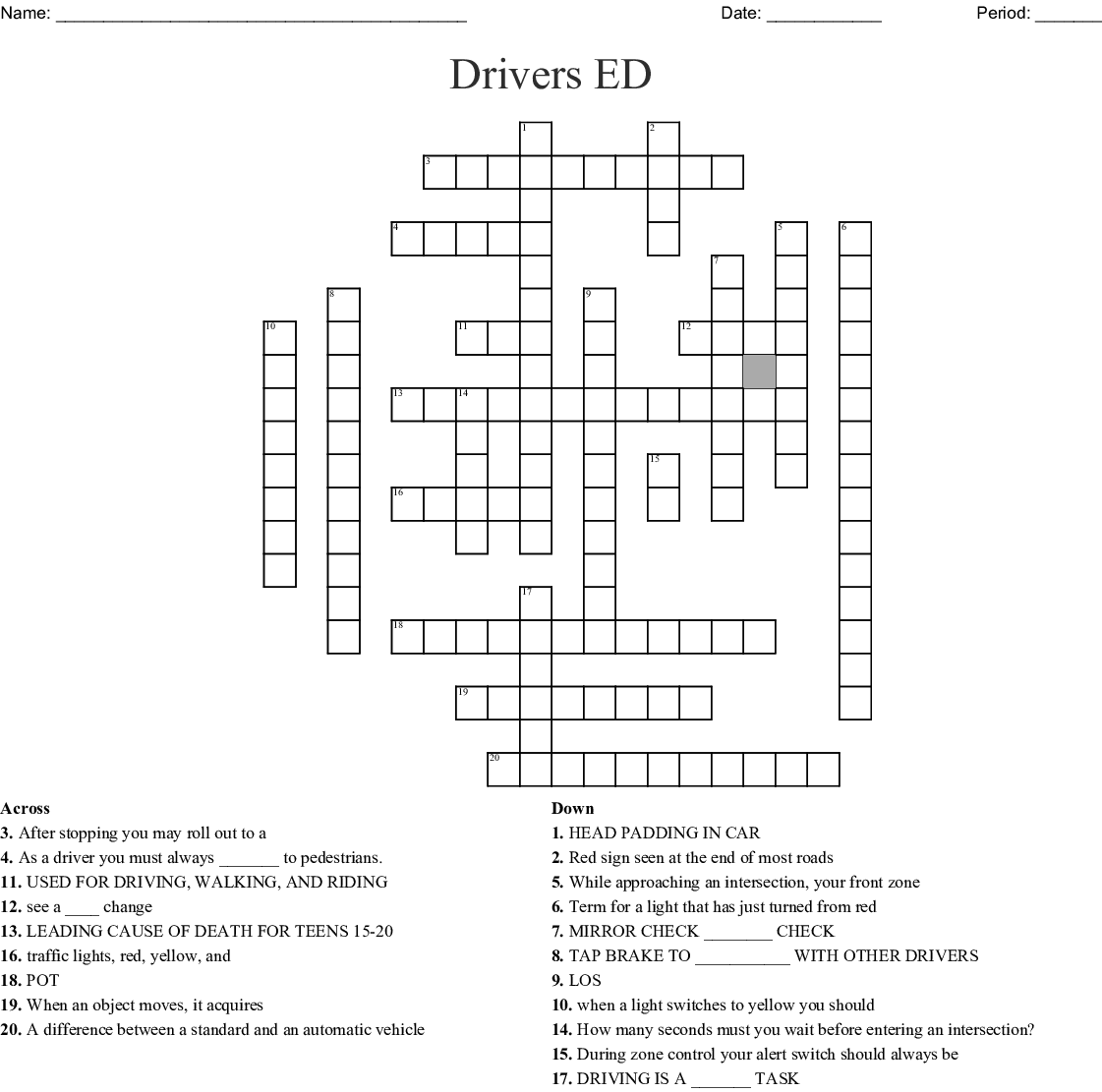 Road Safety Crossword