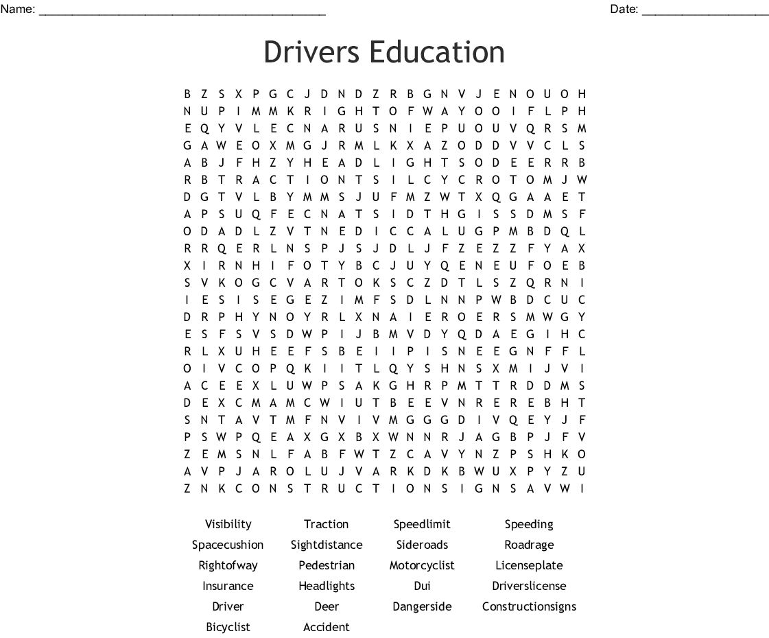 Driver Education Word Search