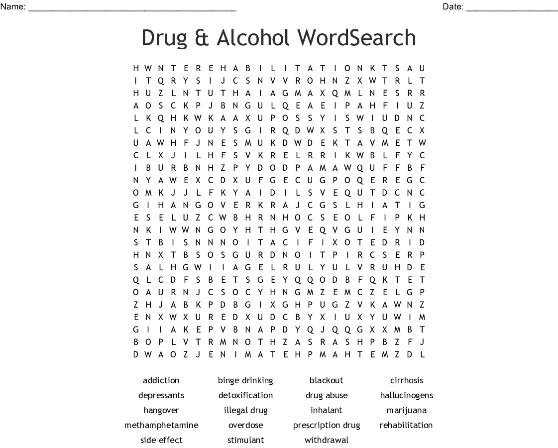 Alcohol Word Search