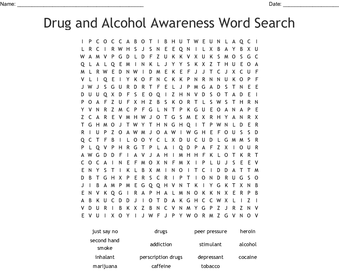 Drug And Alcohol Awareness Word Search