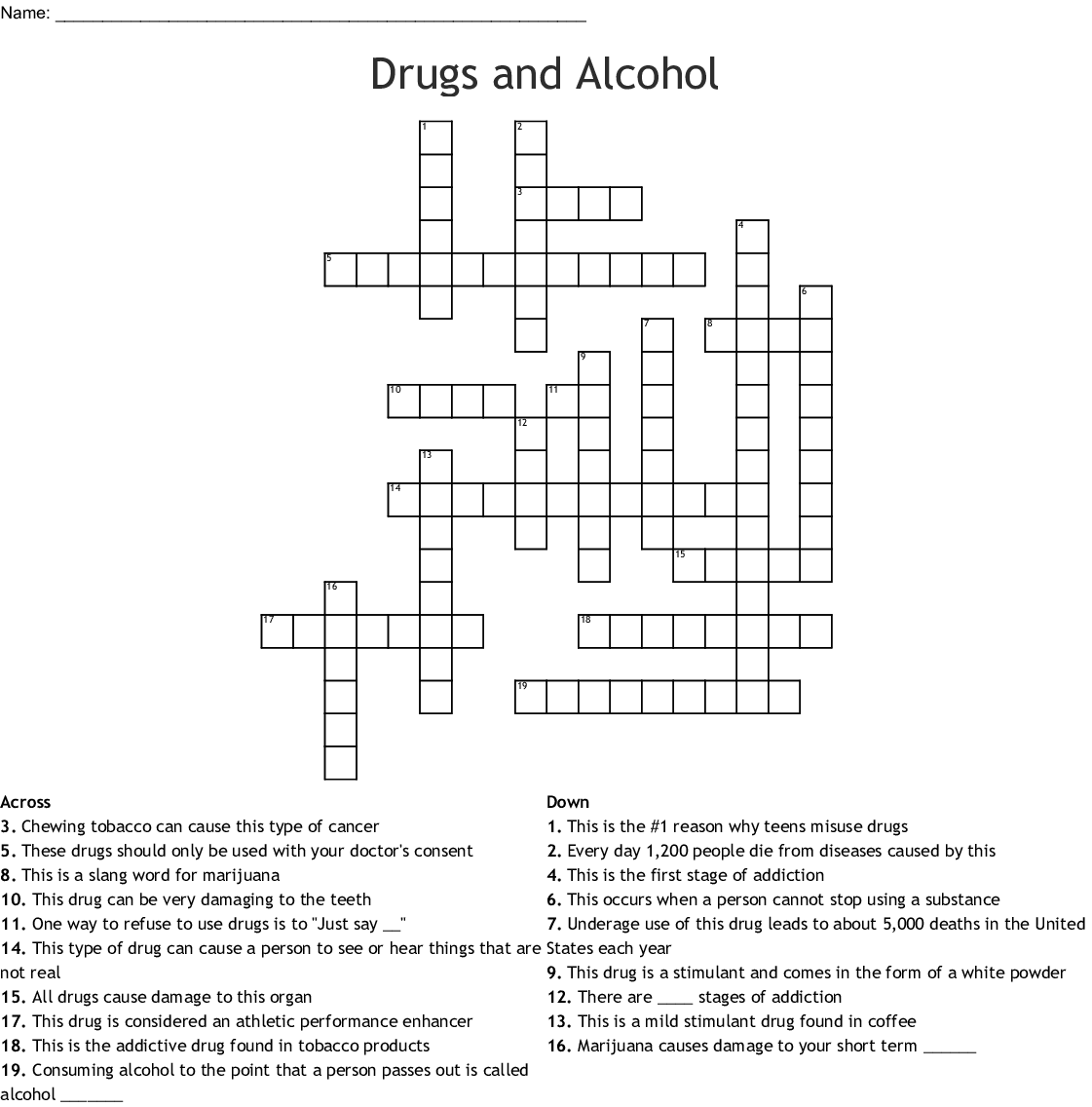 Addiction Amp Recovery Crossword