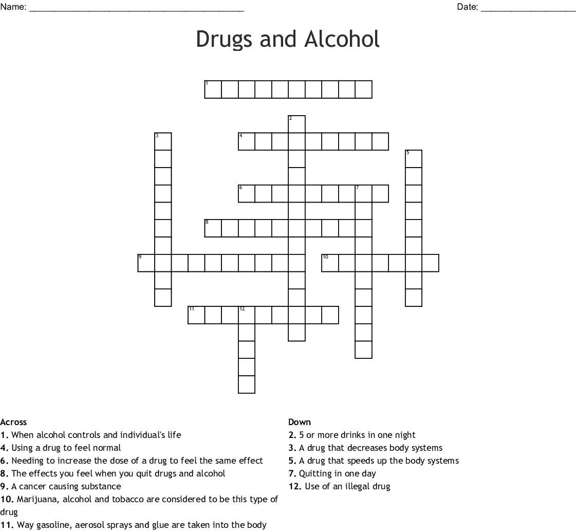 Drugs And Alchol Crossword