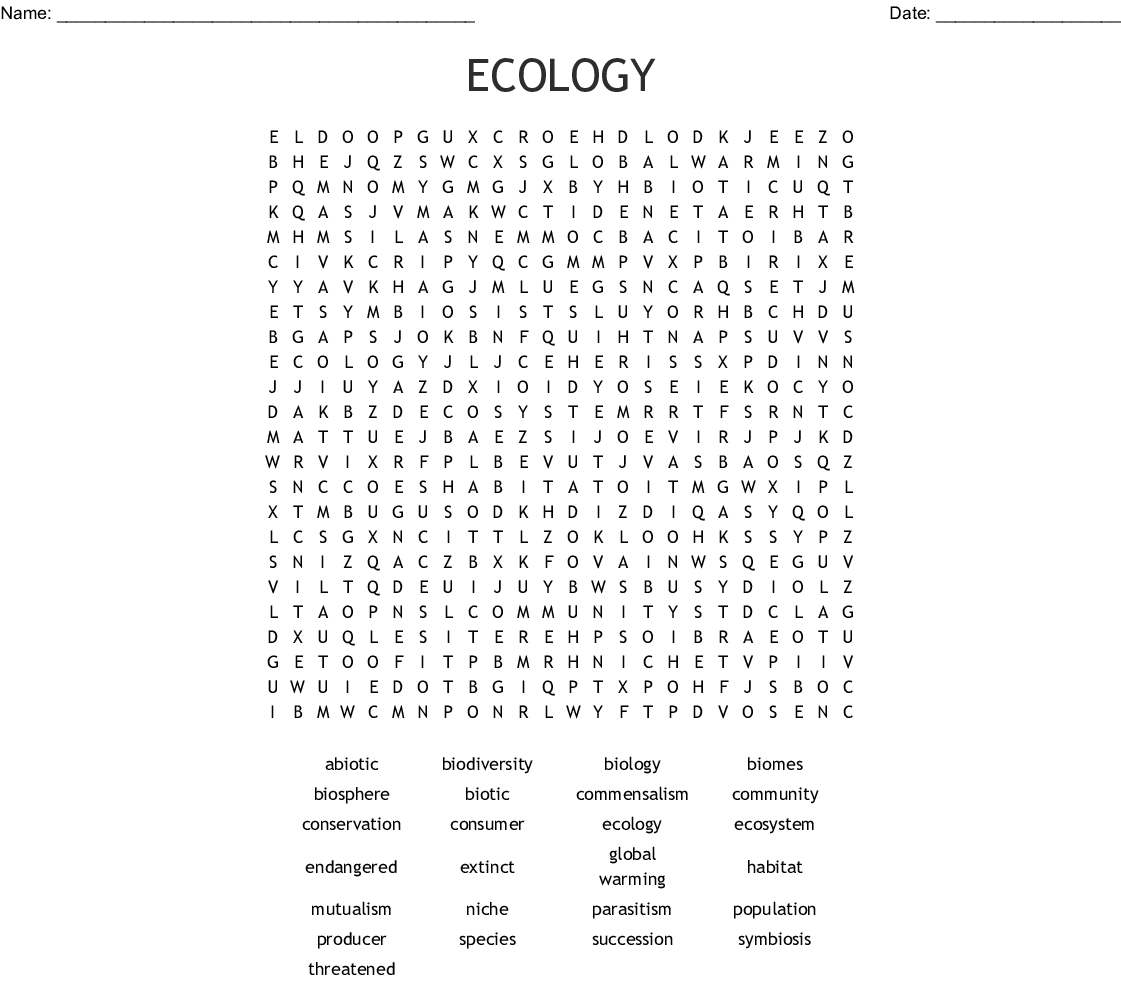 Ecosystems Word Search