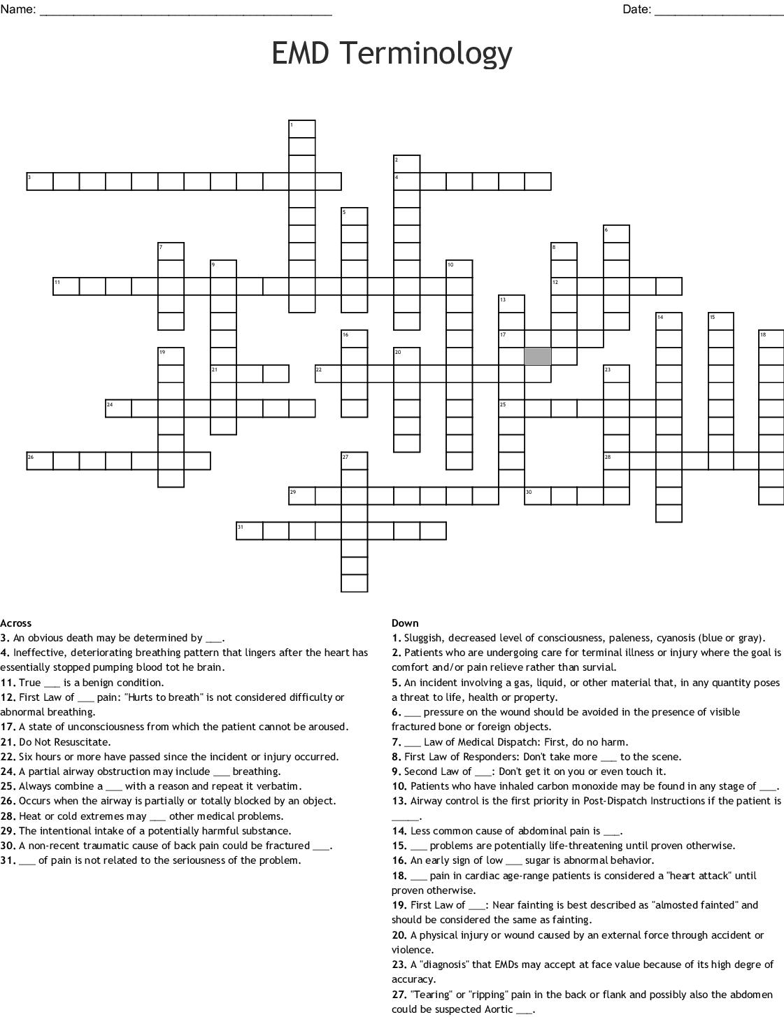 Emd Terminology Crossword