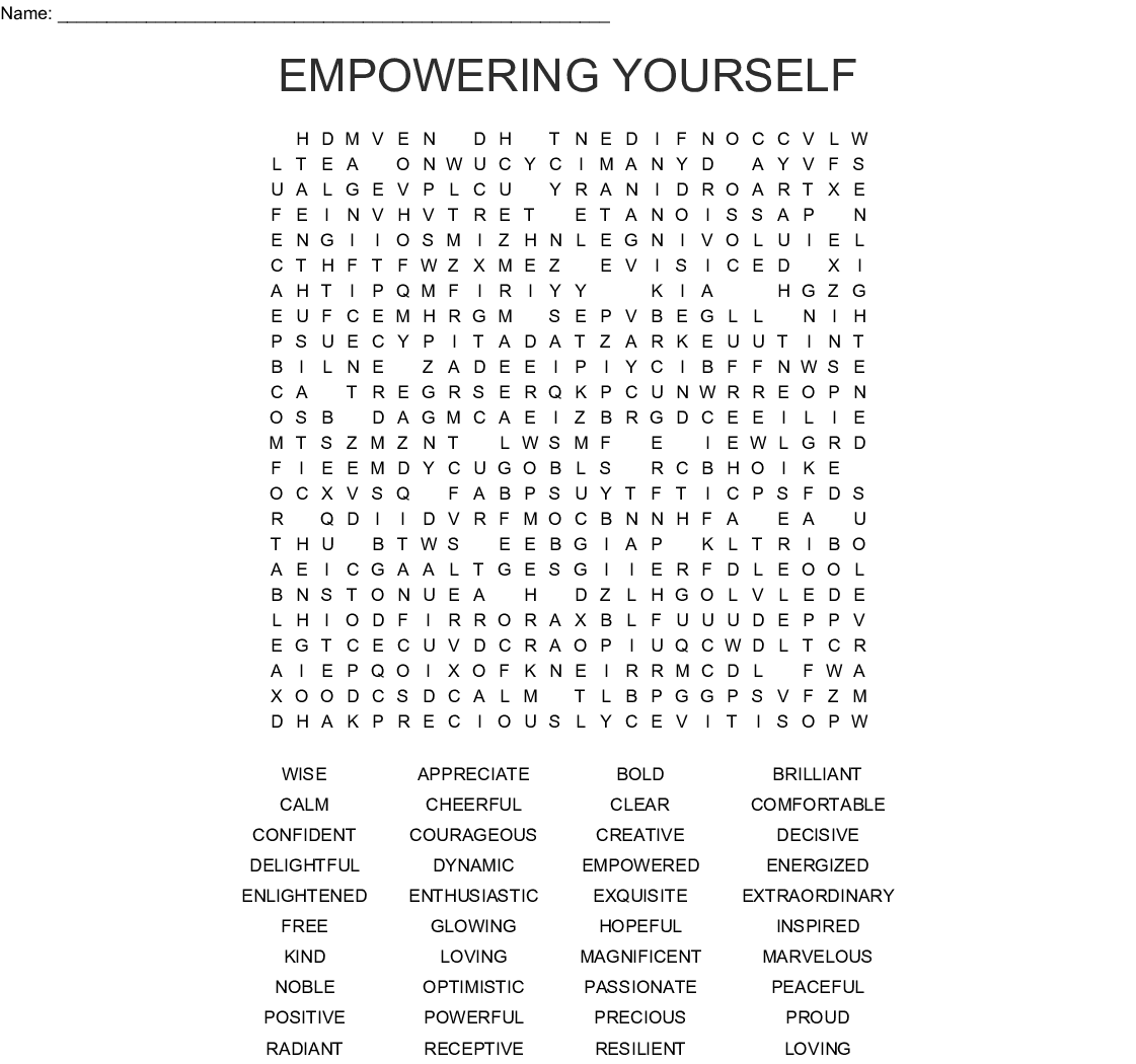 Empowering Yourself Word Search