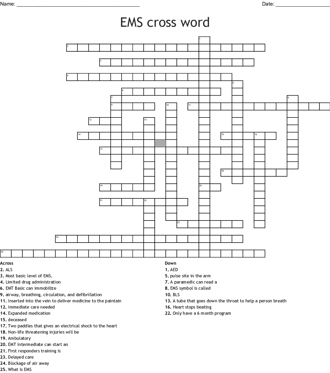 Emergency Services Crosswords, Word Searches, Bingo Cards