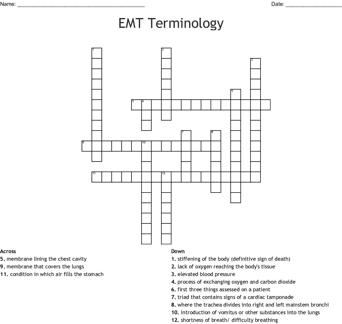 Chest Tubes Crossword