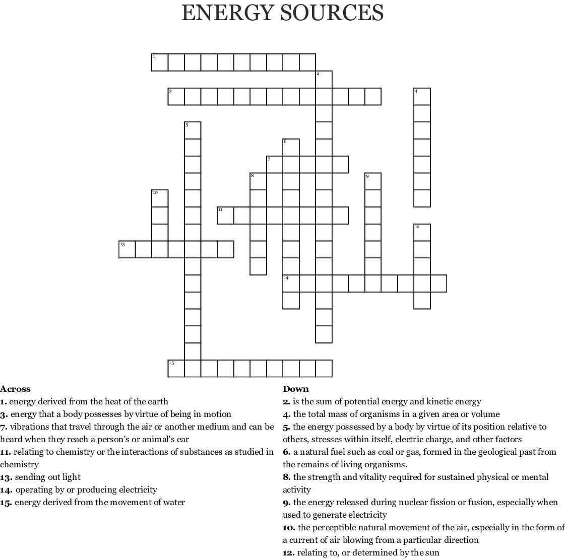 Energy Sources Crossword