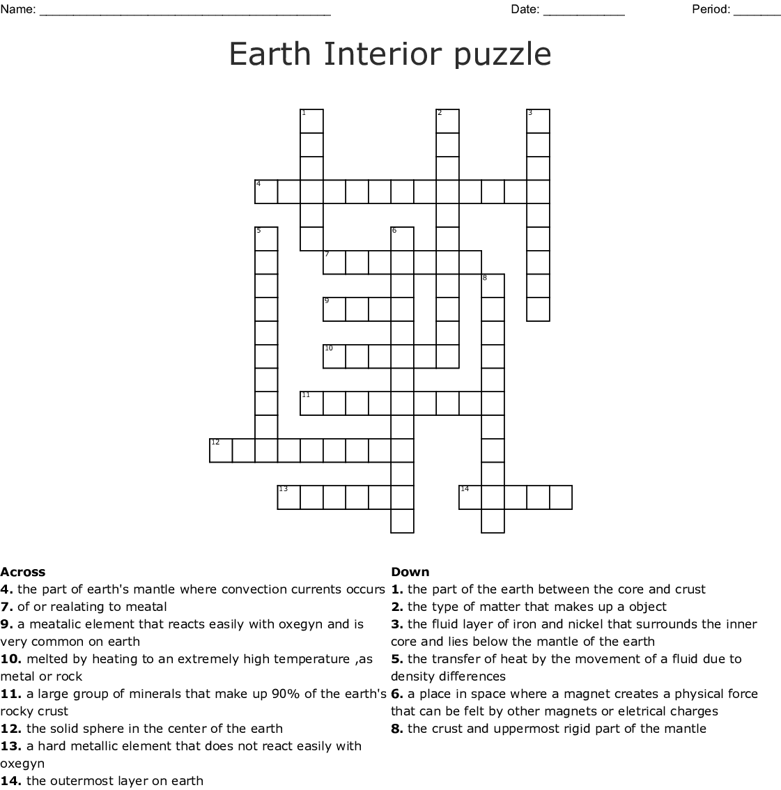 Layers Of Earth Crossword Puzzle