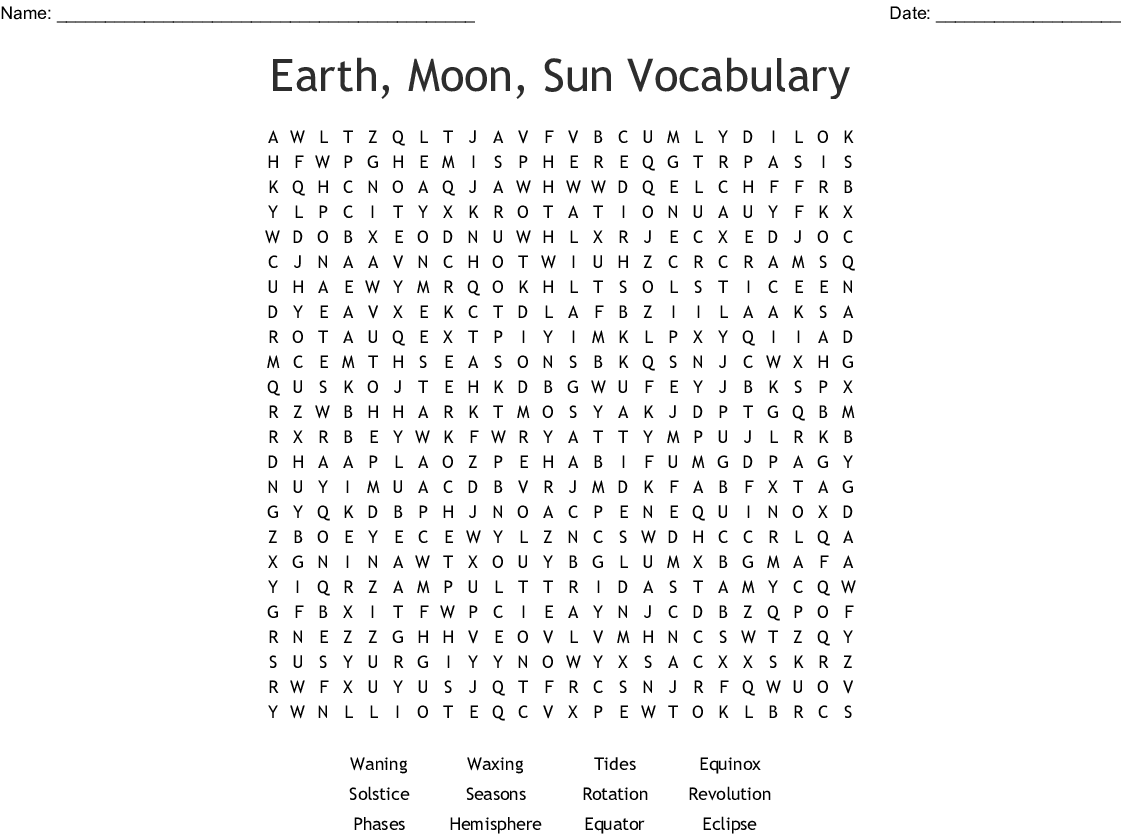 Earth Moon And Sun Word Search